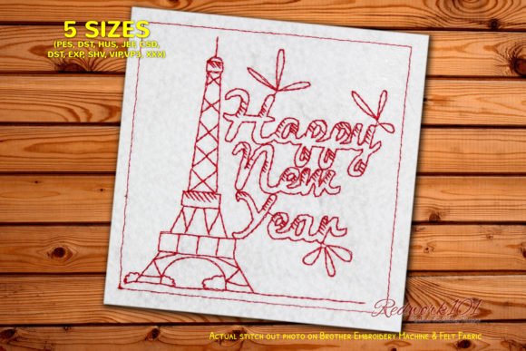 Eiffel Tower New Year Destination Backgrounds Embroidery Design By Redwork101