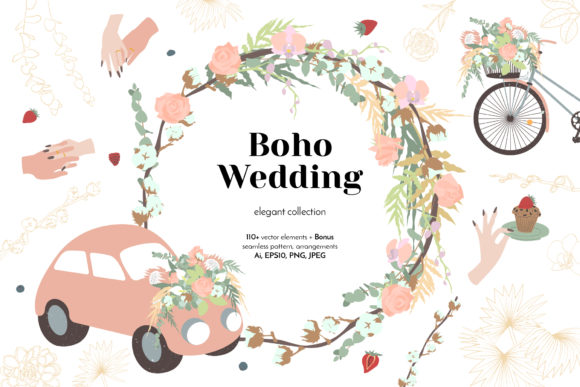 Elegant Boho Wedding Graphic Collection Graphic Objects By neauth