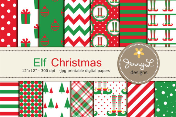 Elf Christmas Digital Papers Graphic Patterns By jennyL_designs