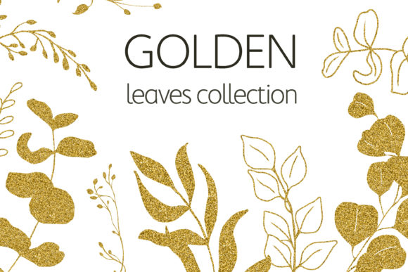Eucalyptus Golden Leaves Clipart. Graphic Illustrations By olesiafrolowa