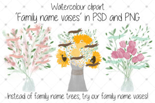 Print on Demand: Family, Watercolour, Flowers Graphic Illustrations By CommercialCliparts