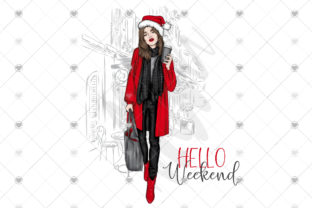 Fashion Girl Christmas Hello Weekend Graphic Illustrations By Ashley St-Vincent