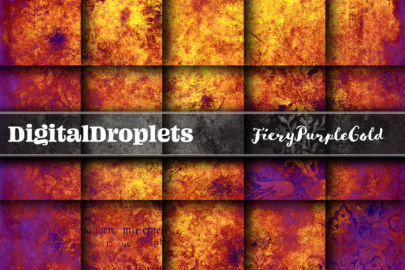 Fiery Purple Gold Graphic Textures By digitaldroplets