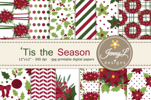Floral Christmas Digital Paper Clipart Graphic Patterns By jennyL_designs