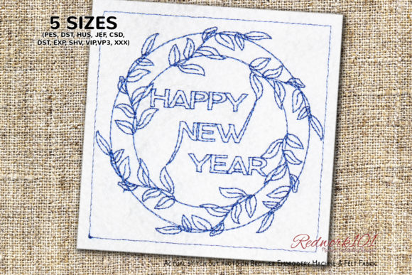 Floral Wreath Decoration for New Year Floral Wreaths Embroidery Design By Redwork101