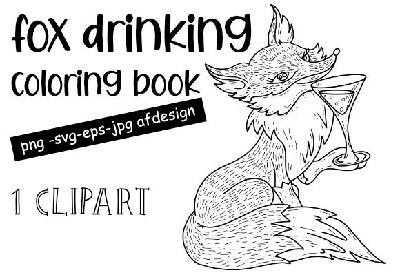 Print on Demand: Fox Drinking a Cocktail Coloring Page Graphic Coloring Pages & Books Adults By stanosh