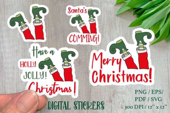 Funny Stickers ELF with Sign. Graphic Illustrations By Createya Design