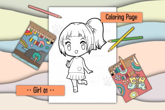Girl 01 Graphic Coloring Pages & Books Kids By TakeNoteDesign