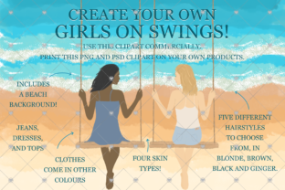 Print on Demand: Girls Clipart, Sisters Clipart, Swing, Graphic Illustrations By CommercialCliparts