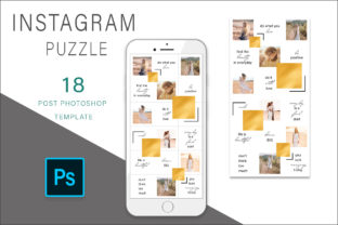 Print on Demand: Gold Instagram Puzzle Template Graphic Graphic Templates By AS Digitale