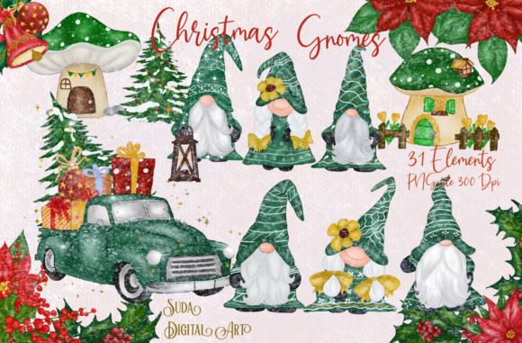 Print on Demand: Green Gnomes Christmas Design Clipart Graphic Illustrations By Suda Digital Art