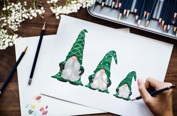 Green Gnomes Christmas Design Clipart Graphic Graphic