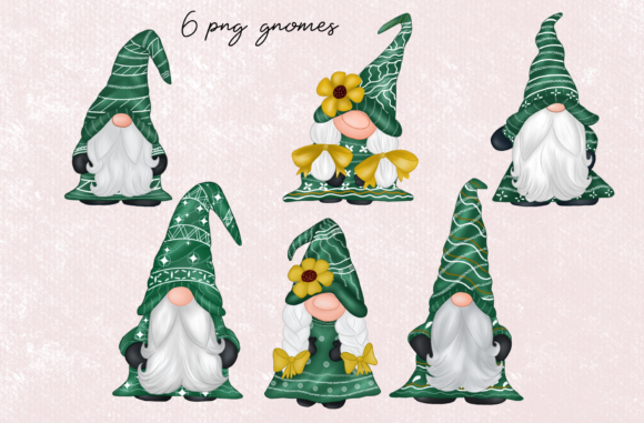 Green Gnomes Christmas Design Clipart Graphic Download