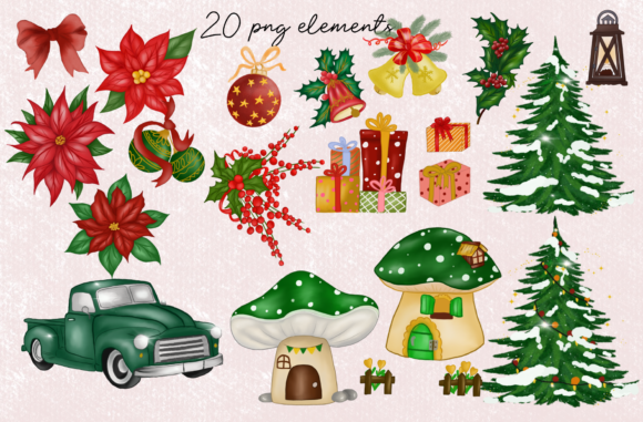 Green Gnomes Christmas Design Clipart Graphic Item