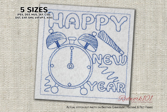 Happy New Year Alarm Clock Redwork Backgrounds Embroidery Design By Redwork101