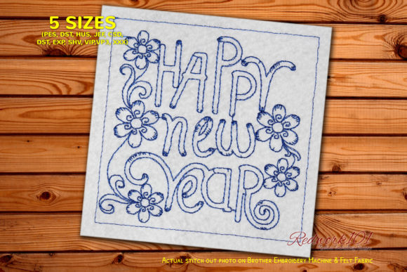 Happy New Year Floral Design Redwork Floral Wreaths Embroidery Design By Redwork101