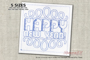 Happy New Year Pattern Redwork Paisley Embroidery Design By Redwork101