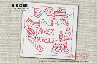 Happy New Year Treats Design Dessert & Sweets Embroidery Design By Redwork101