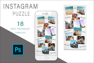 Print on Demand: Instagram Puzzle Template for Photoshop Graphic Graphic Templates By AS Digitale