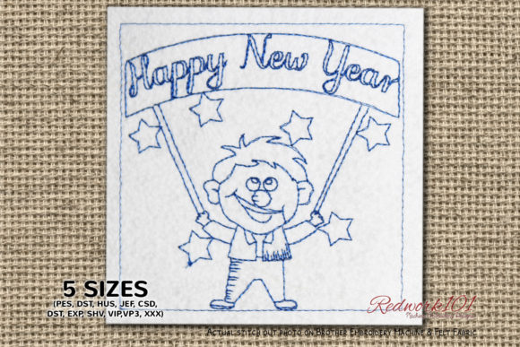 Man with New Year Signage Redwork Backgrounds Embroidery Design By Redwork101