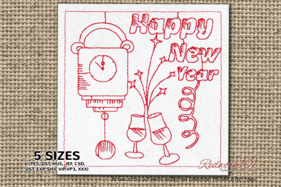 Midnight Clock Happy New Year Redwork Backgrounds Embroidery Design By Redwork101