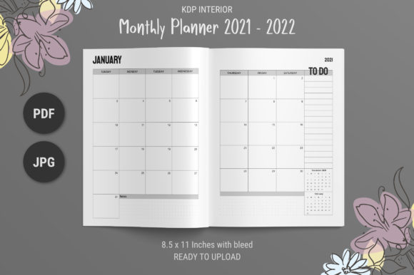 Print on Demand: Monthly Planner 2021 -2022 Graphic KDP Interiors By The Low Content Bookshelf