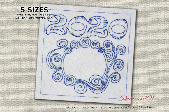 New Year Abstract Pattern Redwork Paisley Embroidery Design By Redwork101