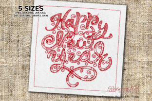New Year Collage Design Backgrounds Embroidery Design By Redwork101