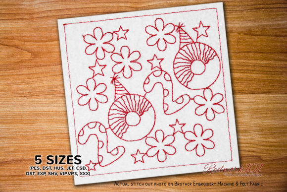 New Year Design with Blossom Flower Floral Wreaths Embroidery Design By Redwork101