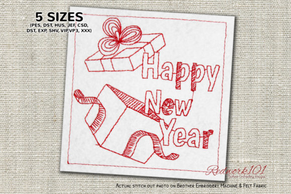 New Year Gift Boxes Lineart Design Backgrounds Embroidery Design By Redwork101