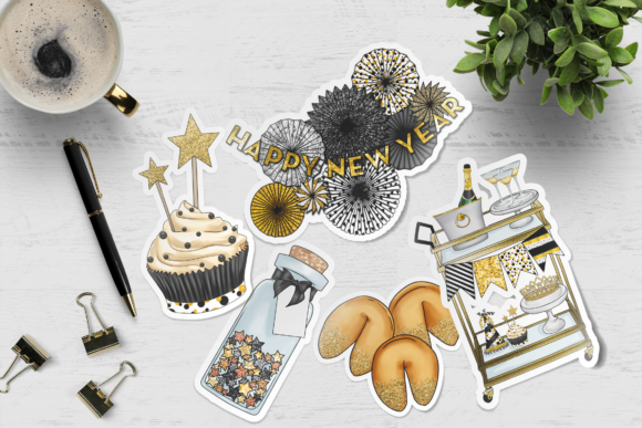 New Year's Party Clipart Graphic Design Item