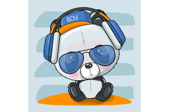Panda with Sun Glasses and Headphones Graphic Illustrations By maniacvector