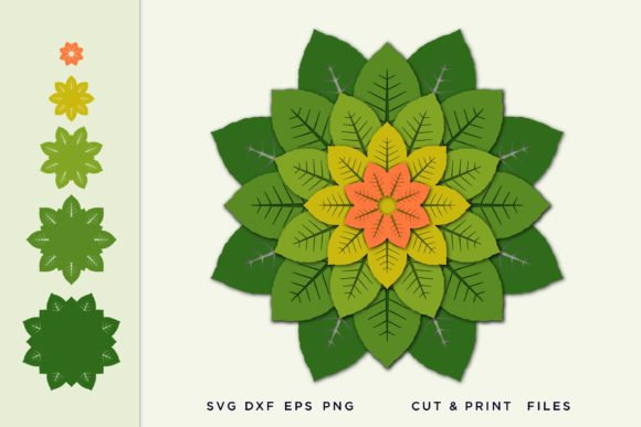 Paper Leaves Flowers Templates Graphic 3D SVG By 2dooart