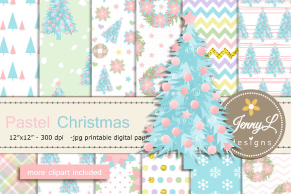 Pastel Christmas Digital Paper Clipart Graphic Patterns By jennyL_designs