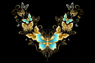 Pattern of Golden Butterflies Graphic Illustrations By Blackmoon9