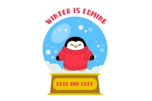 Print on Demand: Penguin Snow Globe  - Winter is Coming Graphic Print Templates By Artsypal
