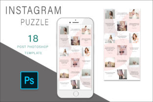 Print on Demand: Pink Botanic Instagram Puzzle Template Graphic Graphic Templates By AS Digitale