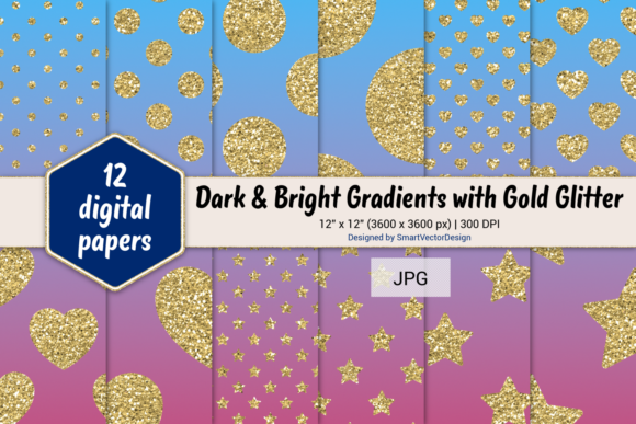 Print on Demand: Polka Dot, Hearts, & Stars-Gradients #31 Graphic Backgrounds By SmartVectorDesign
