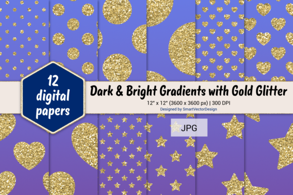 Print on Demand: Polka Dot, Hearts, & Stars-Gradients #32 Graphic Backgrounds By SmartVectorDesign
