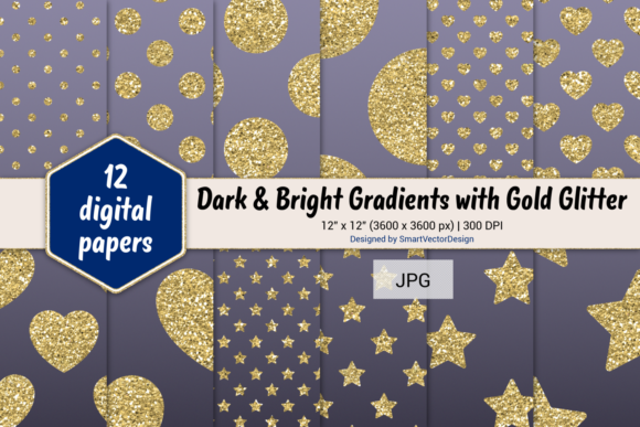 Print on Demand: Polka Dot, Hearts, & Stars-Gradients #34 Graphic Backgrounds By SmartVectorDesign