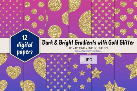 Print on Demand: Polka Dot, Hearts, & Stars-Gradients #38 Graphic Backgrounds By SmartVectorDesign