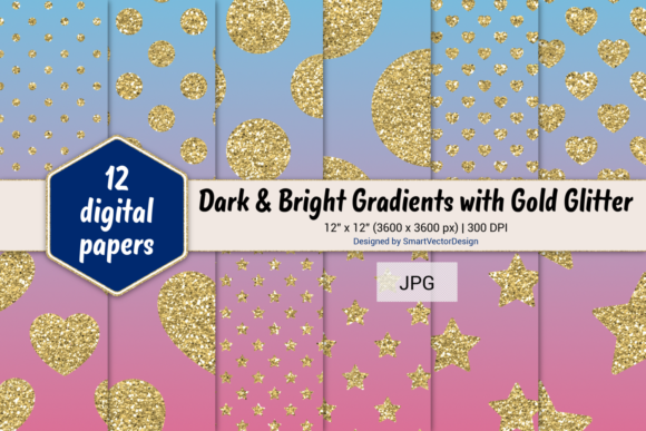 Print on Demand: Polka Dot, Hearts, & Stars-Gradients #42 Graphic Backgrounds By SmartVectorDesign