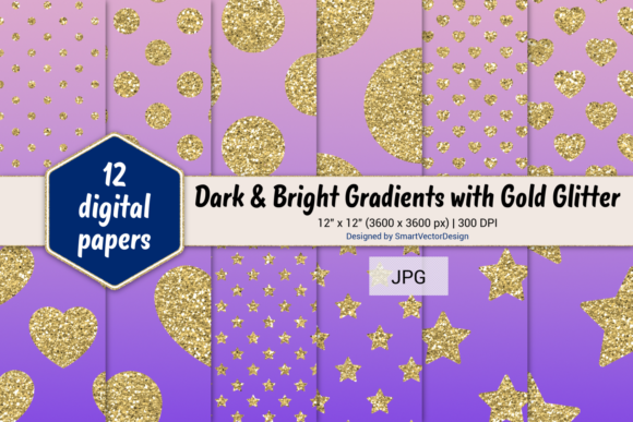 Print on Demand: Polka Dot, Hearts, & Stars-Gradients #44 Graphic Backgrounds By SmartVectorDesign