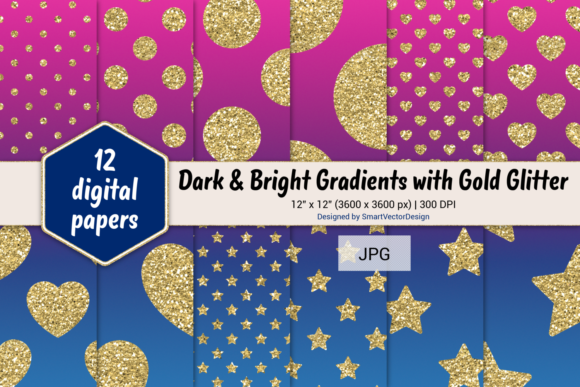 Print on Demand: Polka Dot, Hearts, & Stars-Gradients #45 Graphic Backgrounds By SmartVectorDesign