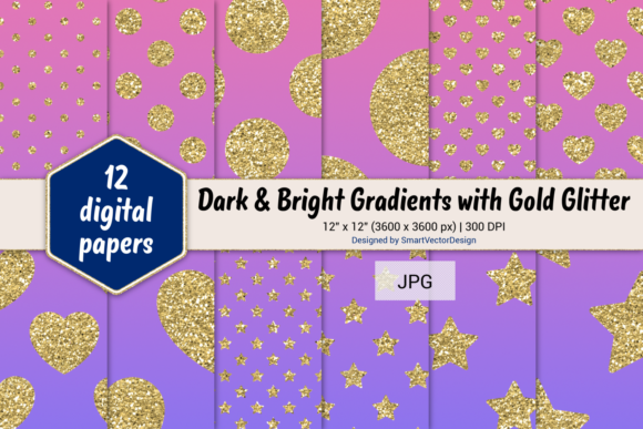 Print on Demand: Polka Dot, Hearts, & Stars-Gradients #46 Graphic Backgrounds By SmartVectorDesign