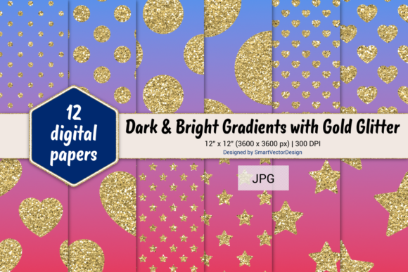 Print on Demand: Polka Dot, Hearts, & Stars-Gradients #47 Graphic Backgrounds By SmartVectorDesign