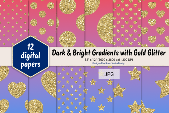 Print on Demand: Polka Dot, Hearts, & Stars-Gradients #48 Graphic Backgrounds By SmartVectorDesign