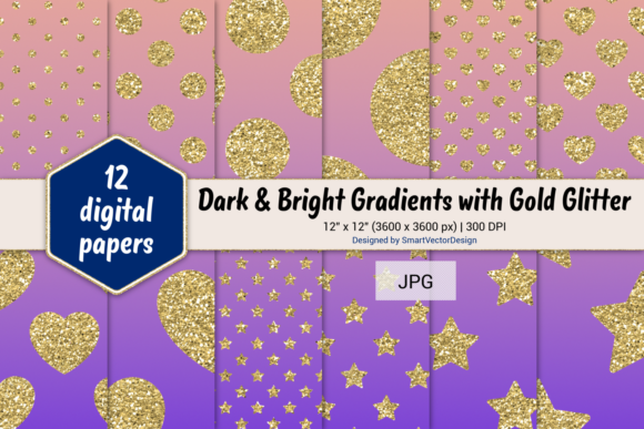 Print on Demand: Polka Dot, Hearts, & Stars-Gradients #49 Graphic Backgrounds By SmartVectorDesign