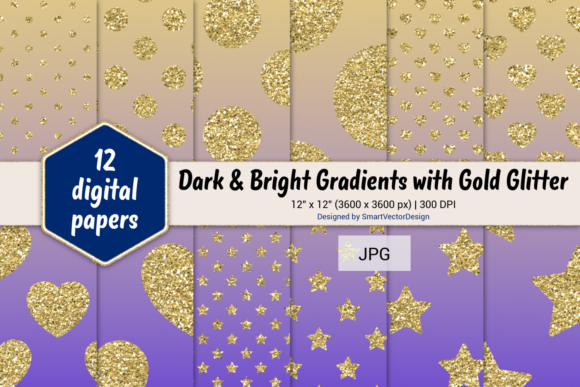 Print on Demand: Polka Dot, Hearts, & Stars-Gradients #50 Graphic Backgrounds By SmartVectorDesign