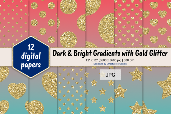 Print on Demand: Polka Dot, Hearts, & Stars-Gradients #51 Graphic Backgrounds By SmartVectorDesign